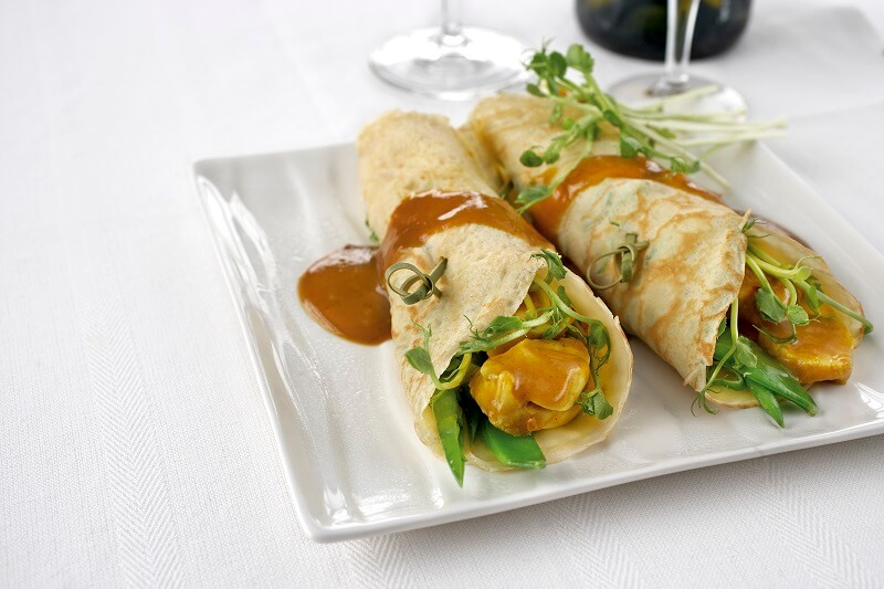 Satay Chicken Pancakes